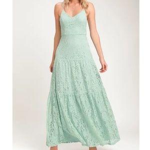 Lulu's Light Sage Green Tiered Lace Maxi Dress NWT